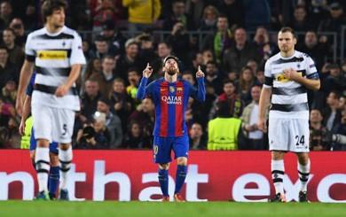 Messi puso el 1-0 sobre Mönchengladbach y entró a la historia del Barcelona