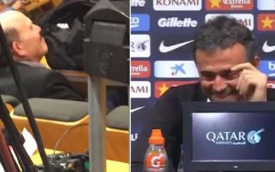 Luis Enrique no aguantó risa al ver a periodista dormido en conferencia