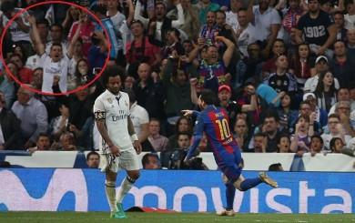 Messi y la curiosa imagen del hincha del Real Madrid tras su gol